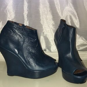 Blue Ankle Open Toe Wedges